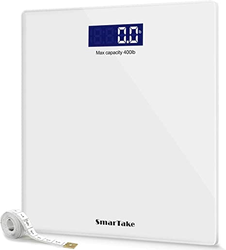 Letsfit Digital Body Weight Scale Step-On Technology Bathroom Scale with Large Backlit Display 6mm Tempered Glass 400 Pounds 180kg Max High Precision Measurements