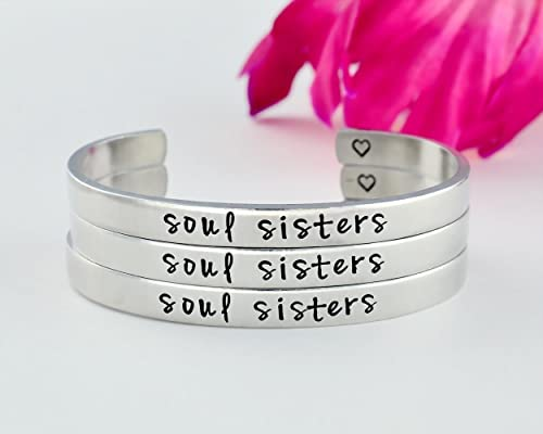 Soul Sisters - Hand Stamped Aluminum Cuff Bracelets Set of 3, Sorority Sisters Best Friends BFF Friendship Personalized Gift