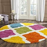 Safavieh Kids Shag Collection SGK562A Ivory and Multi Round Area Rug (6'7″ Diameter)