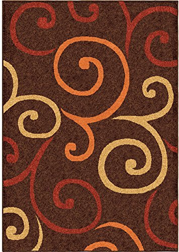 (Orian Aruba Area Rug 2324 Contemporary Brown Curls Swirls 6' 5