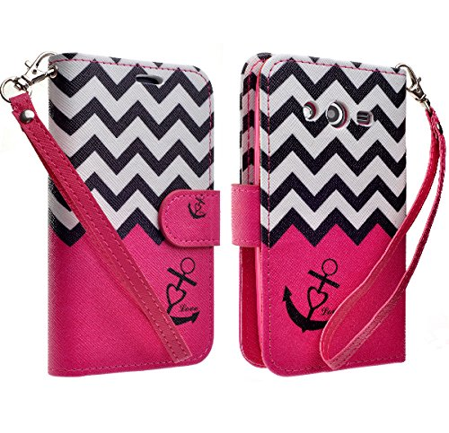 Samsung Galaxy Avant G386T Case, Magnetic Leather Flip Wallet Pouch Samsung Galaxy Avant G386 (T-Mobile), Slim Folio with Kickstand, Hot Pink Chevron Achor Design