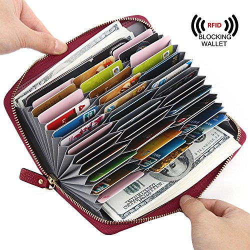 YALUXE RFID Blocking Genuine Leather Womens Wallet Large 36 Cases Slots Zipper Pocket