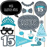 Quinceanera Teal - Sweet 15 - Birthday Party Photo Booth Props Kit - 20 Count