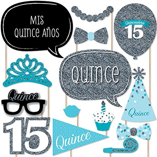 Quinceanera Teal - Sweet 15 - Birthday Party Photo Booth Props Kit - 20 Count (Quinceanera Sweet)