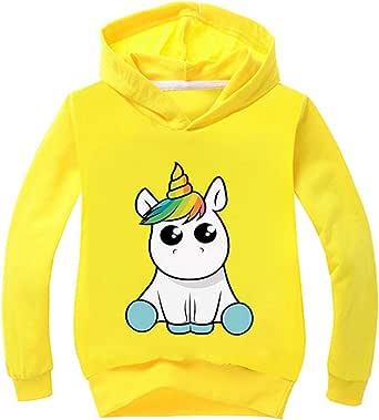 OLIPHEE Niña Camiseta con Capucha Impresión De con Patrón de Unicorn De Manga Larga