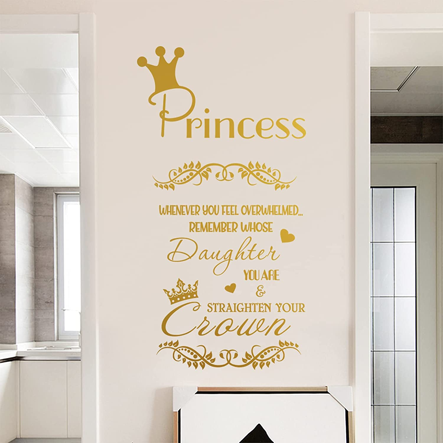 Whenever You Feel Overwhelmed Remember Whose Daughter You are Straighten Your Crown Wall Stickers, DILIBRA Inspirational Qoute Bibe Sign Princess Wall Decal, Home Decor for Living Room Bedroom (Gold)