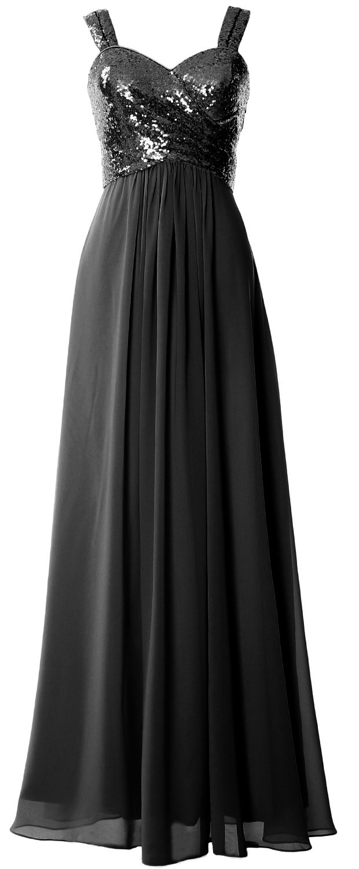 MACloth Women Straps Sequin Long Bridesmaid Dress Cowl Back Wedding Formal Gown (26w, Black)