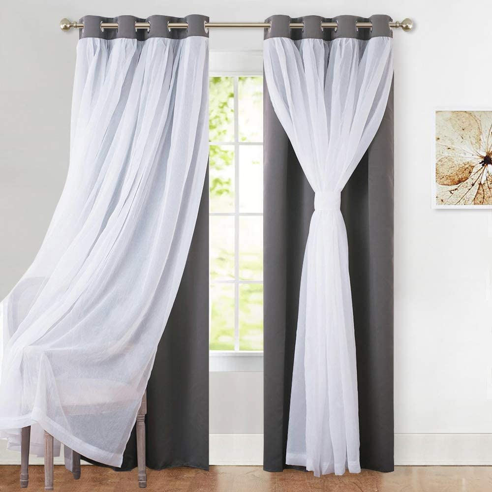 PONY DANCE Gray Blackout Curtains - Crushed White Sheer Voile x Light Block Window Drapes Mix & Match Home Decor, 52 Wide x 95 Long, Grey, 2 PCs