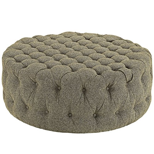(Modway Amour Fabric Upholstered Button-Tufted Round Ottoman in Oatmeal)