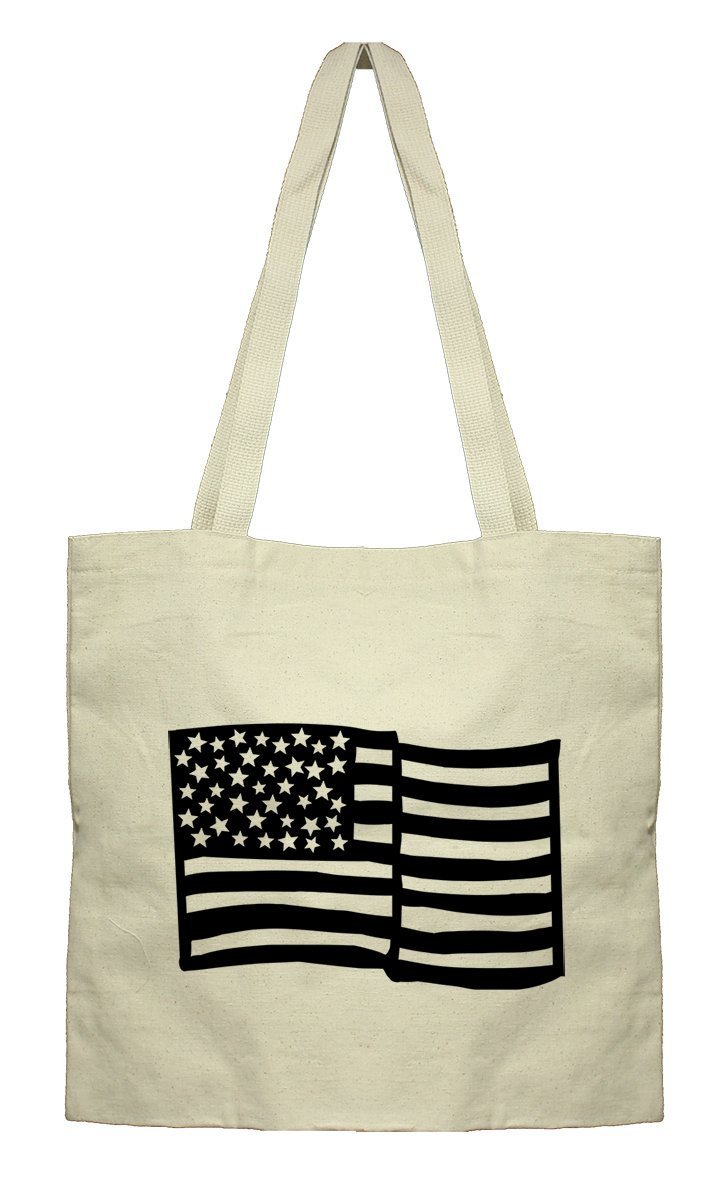 American Flag #2 Canvas Flat Tote Cotton Bag, Market Bag Weststyle