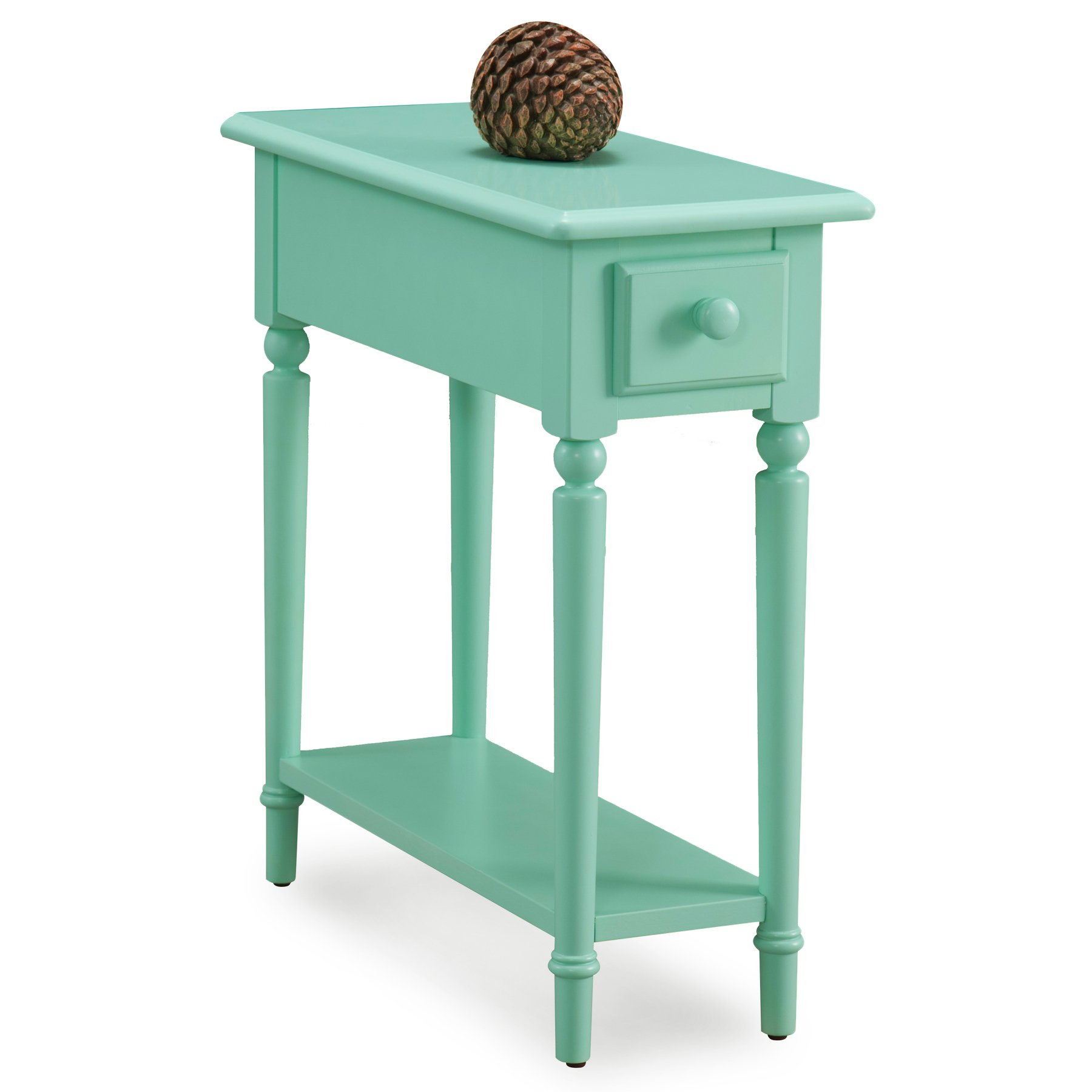Leick 20017-GN Coastal Narrow Chairside Table with Shelf, Kiwi Green by Leick Furniture