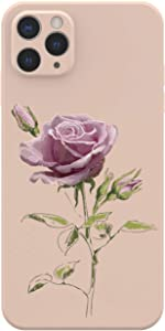 Caseshe Oil Painting Rose Flower Cube Straight Edge Soft Liquid Silicone Compatible with iPhone Case (Pink,iPhone 11)