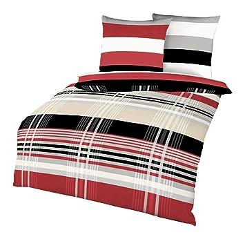 Kaeppel Biber Bettwäsche Set Prime Time Rot Schwarz Weiß Streifen