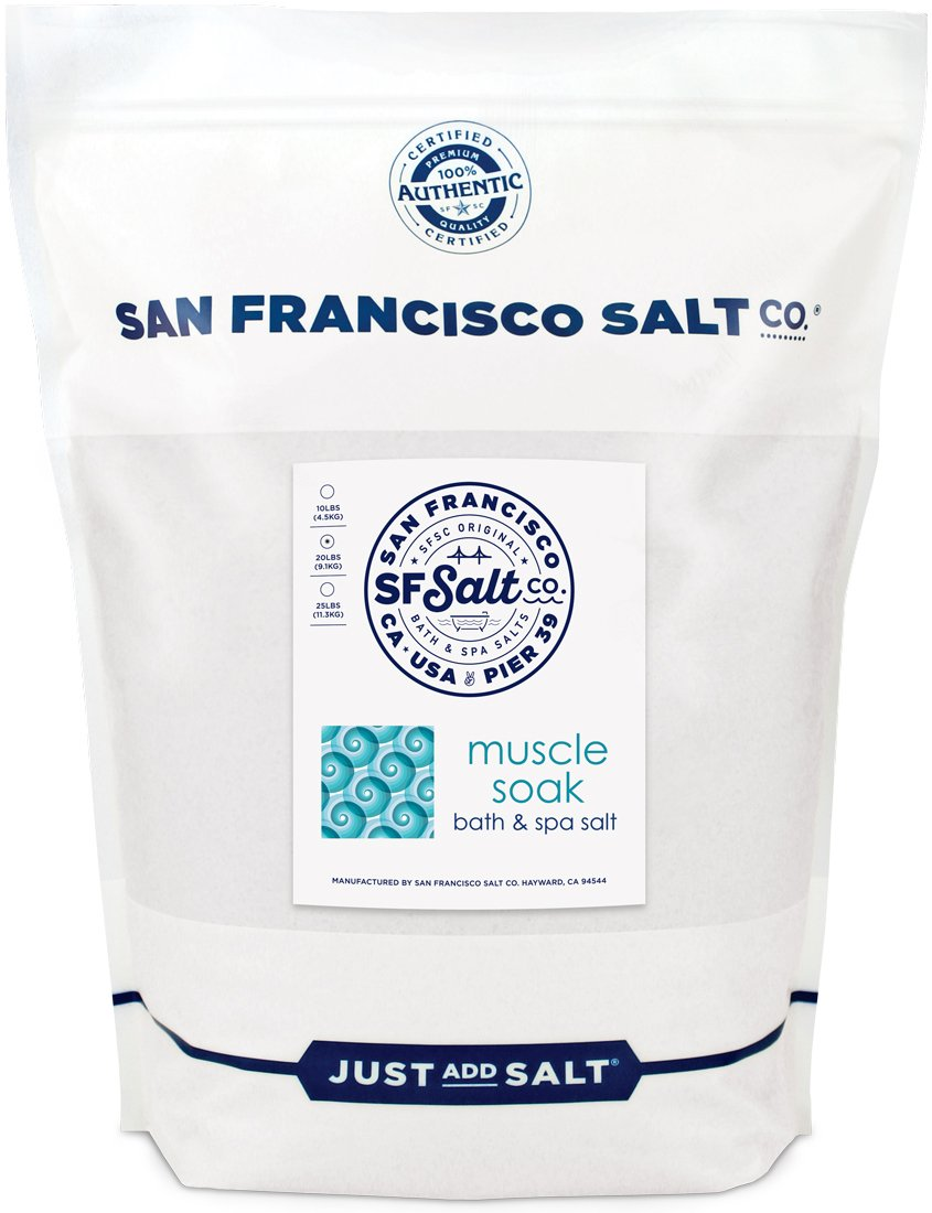 Muscle Soak 20 lb. Bulk Bag - Soothe Muscle Aches & Pains and Reduce Inflammation with Epsom Salt and Premium Eucalyptus & Peppermint Essential Oils by San Francisco Salt Company