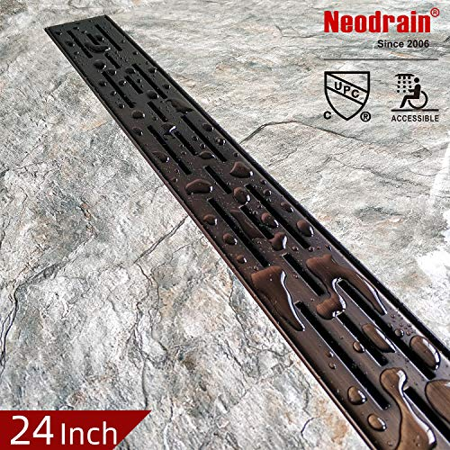 Neodrain 24-In Rectangular Linear Shower Drain with Brickwork Pattern Grate, Brushed 304 Stainless Steel Bathroom Floor Drain,Oil Rubbed Bronze finish,Shower Floor Drain