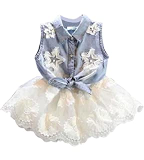 8300b7b6e02 Amazon.com  Fabal Fashion Girls Kids Princess Flower Denim Tulle ...