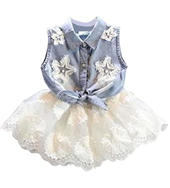 Amazon.com  Summer Kids Girls Denim Vest+ White TUTU Lace Chiffon Skirt  Dress  Clothing ddf0da4f02fd