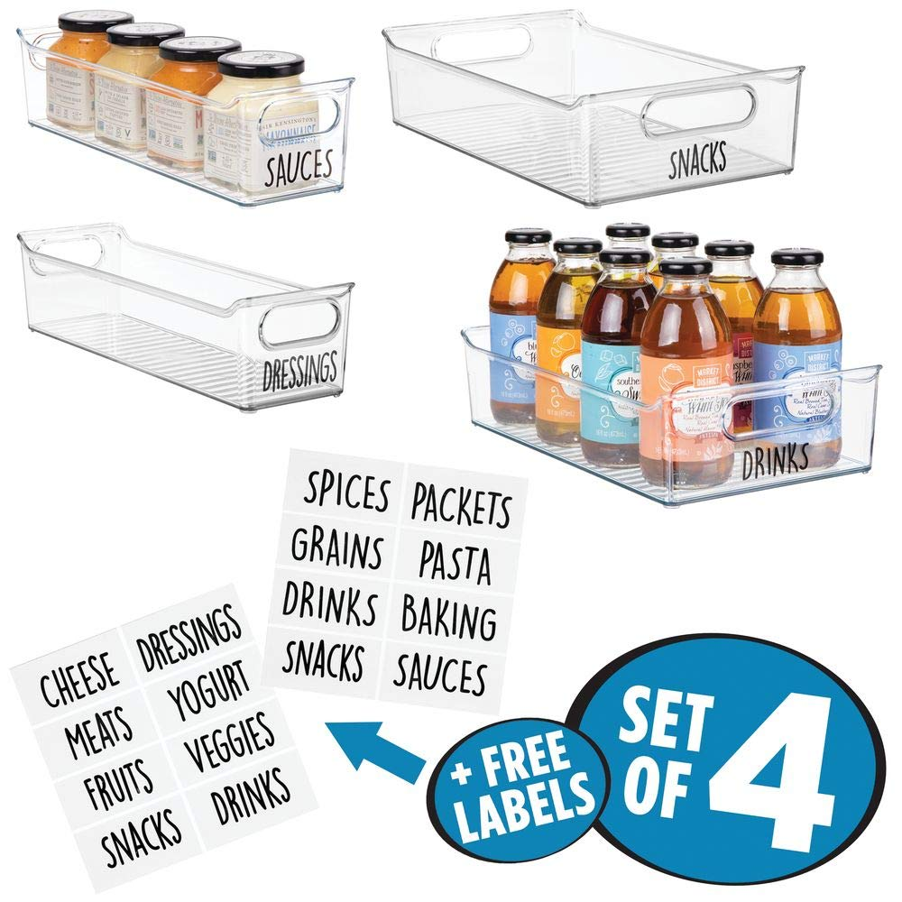 Cabinets Shelves for Pantry BPA Free Set of 4 Refrigerator Clear 2 Size Organizers Trays with Built-In Handles mDesign Kitchen Storage Organizer Bin Set with 16 Identification Labels