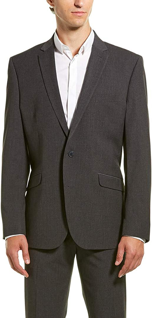 """Kenneth Cole REACTION Slim Fit Stretch Performance 32"""" Finished Bottom Suit Grey 40 S"""