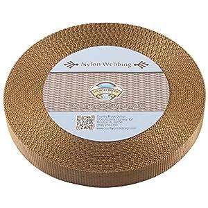 Country Brook Design | Heavy Nylon Webbing (1 inch) (Coyote Tan, 10 Yards)