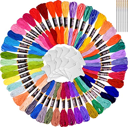 Rainbow Colors Embroidery Floss – Cross Stitch Threads Set-Friendship Bracelets Floss – Crafts Floss-48 skeins and Free Set of 4 Skeins Variegated Floss and 12pcs Floss bobbins,6 Needles