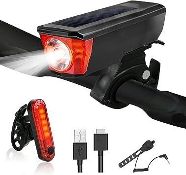Yokunat - Juego de luces de bicicleta recargable por USB, luz de ...