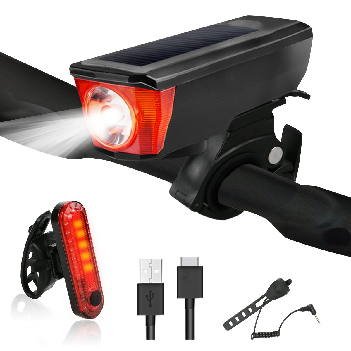 Yokunat Bike Lights, set di luci per bicicletta ricaricabile USB, montagna bicicletta luce LED con 4modalità luce impermeabile facile da installare Ultimate Lighting