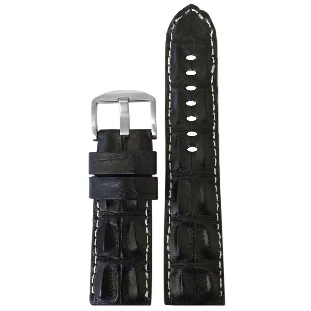 純正Hornback Alligator Watch Band with Stitching by Panatime 22mm XL ブラック/ホワイト B074P7DRSW 22mm XL ブラック/ホワイト ブラック/ホワイト 22mm XL