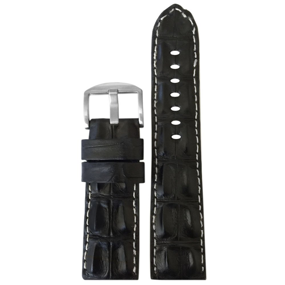 24mm Black Genuine Hornback Alligator Watch Band with White Stitching by Panatime 125x75