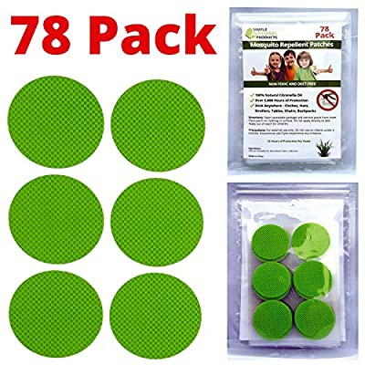 Mosquito Repellent Patches 78 Pack - 5,600 Hours of Effective Protection for Kids and Adults. More Effective Than Lotion or Wipes - Travel Insect Repellent That is All Natural and DEET Free