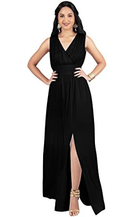 6a285889ac9bca KOH KOH Petite Womens Long Bridesmaid Wedding Guest Cocktail Party Sexy  Sleeveless Summer V-Neck