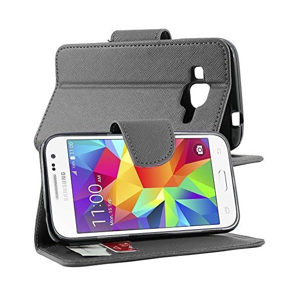 "ebestStar - Funda Compatible con Samsung Galaxy Core Prime SM-G360F, 4G G361F VE Carcasa Cartera Cuero PU, Funda Ranuras Tarjeta Stand, Negro + Cristal Templado [Aparato: 130.8x67.9x8.8mm 4.5""] 2"