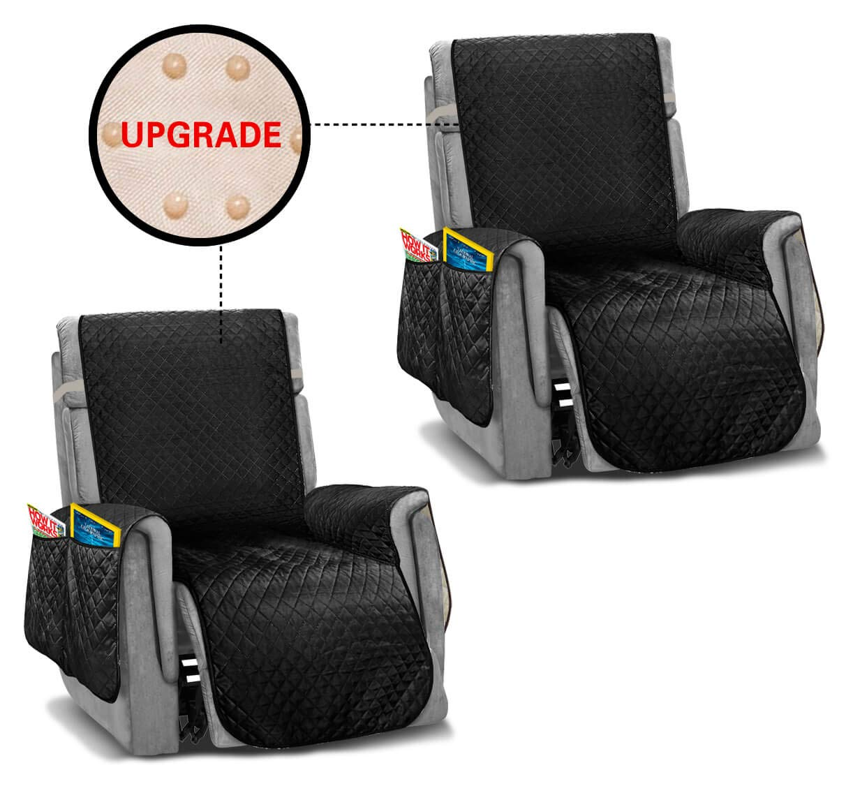 Vailge Oversized Recliner Covers, Durable Recliner Slipover with Back Non-Slip Dots,Machine Washable Recliner Covers for Dogs, Children, Pets(2 Pack, Black) by Vailge