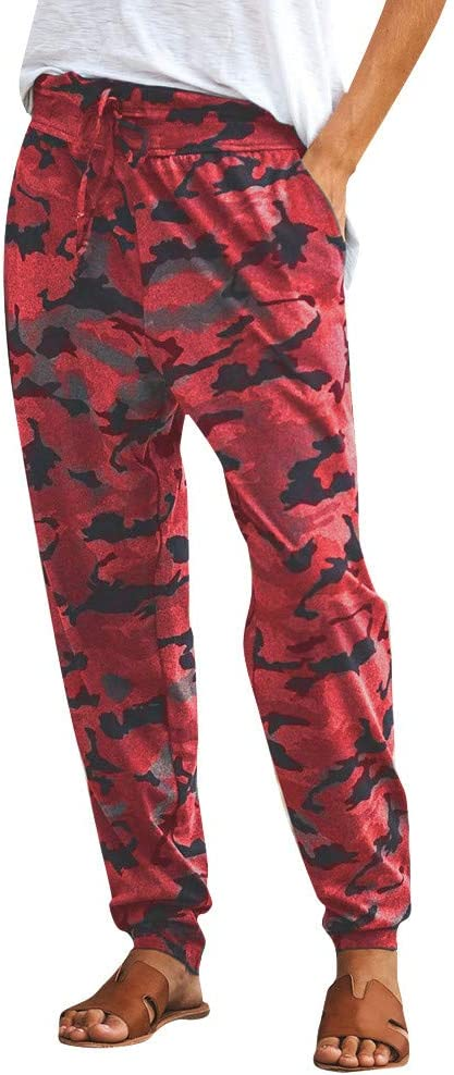Women Camo Jogger Pants Army Green Lounge Pants Elastic Waist Camouflage Comfy Casual Cropped Trousers with Pockets for Workout Running Sports