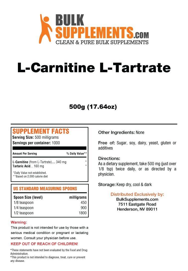 Bulksupplements L-Carnitine L-Tartrate Powder (500 grams)