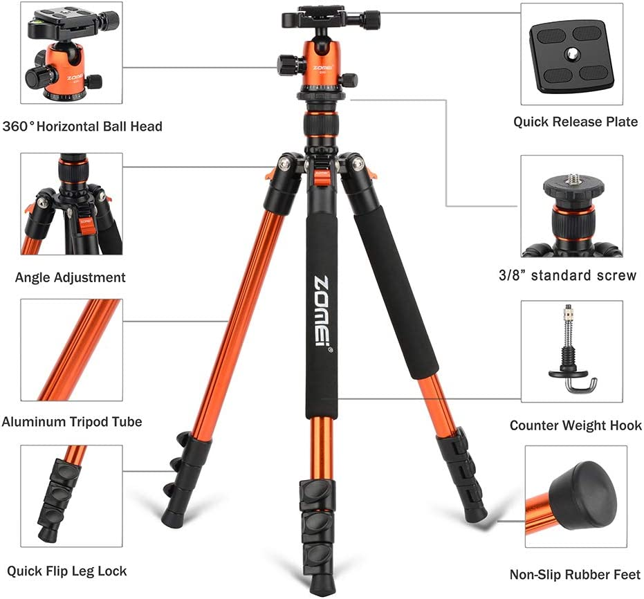 TPOTOO ZOMEI Q555 63 Inch Lightweight Aluminum Alloy Travel Portable Camera Tripod with Ball Head//Quick Release Plate//Carry Bag for Canon Nikon Sony DSLR ILDC Cameras
