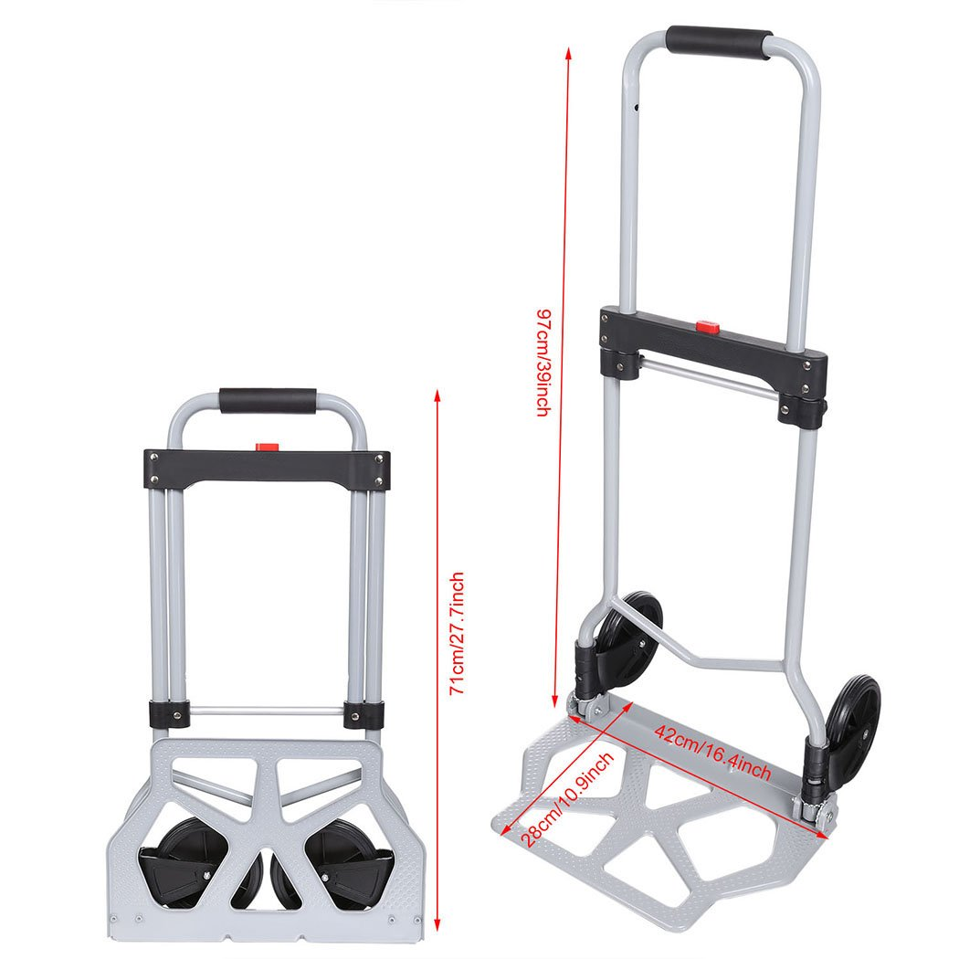 220lb Heavy Duty Folding Hand Truck & Dolly, Assisted Hand Truck Luggage Cart with 2 Wheels-Black by Korie (Image #2)