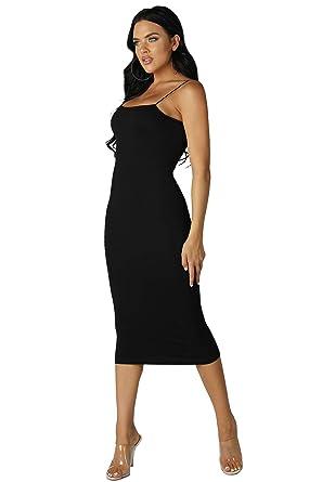 46f3985990477d Nikibiki Women's Seamless Ribbed Knit Midi Dress with Cami Strap, One Size ( Black)