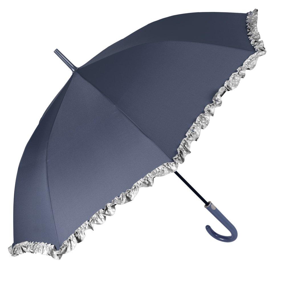 Automatik Schirm Damen - Elegant Regenschirm mit Grau Rü schen mit Weiß er Punkte - Sturmsicher und Windfest Stockschirm - Durchmesser 102 cm - Perletti Time - Blau 25965B