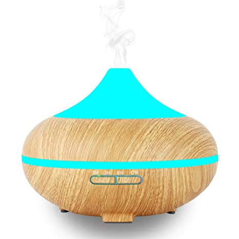 500ml Humidificador Ultrasónico Aromaterapia INKERSCOOP Difusor de Aromas/ Aceites Esenciales, Auto-Apaga, Vapor Frío 7-Color de Luz, y 4 Ajustes de ...