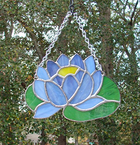 Purple Water Lily on Pad Handmade Stained Glass Lotus Bloom Flower Sun (Green Lilies Stained Glass)