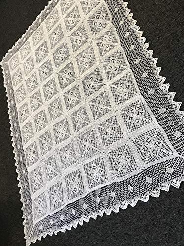 Mikash 72x90 White Color 100% Cotton Crochet Rectangle Vintage Tablecloths | Model TBLCLTH - 664