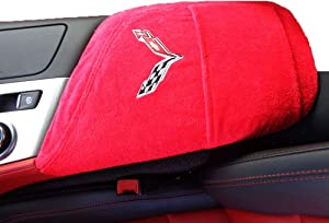Car Console Covers Plus Official Licensed Corvette Logo Embroidered Auto Armrest Center Console Cover Designed for Chevy Corvette C7 2014-2019 Adrenaline Red