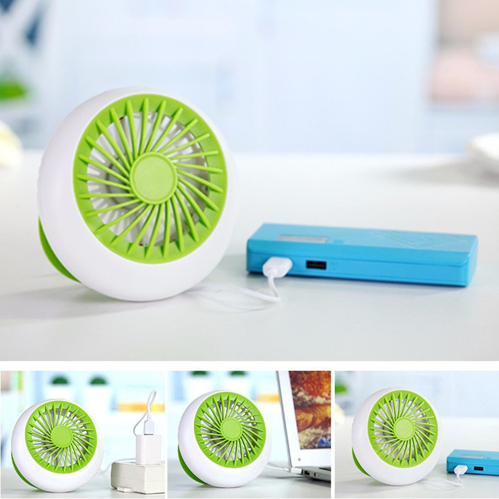 Desktop Mini Fan, Portable Circular Mini Rechargeable Cooling Fan Office USB Portable Desk Small Fan Battery Natural Wind 1200mA 3 Speed Adjustable Electric Fans for Home, Office and Travel(Green) by TechCode