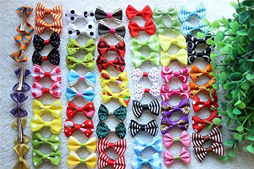 Yagopet 40pcs/20pairs New Dog Hair Clips Small Bowknot Pet Grooming Products Mix Colors Varies Patterns Pet Hair Bows Dog (New Pet Accessories)