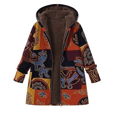 Amlaiworld_Abrigos de mujer Invierno Chaqueta Suéter Jersey Mujer Cardigan Mujer Tallas Grandes Outwear Floral Bolsillos con Capucha de Impresión ...