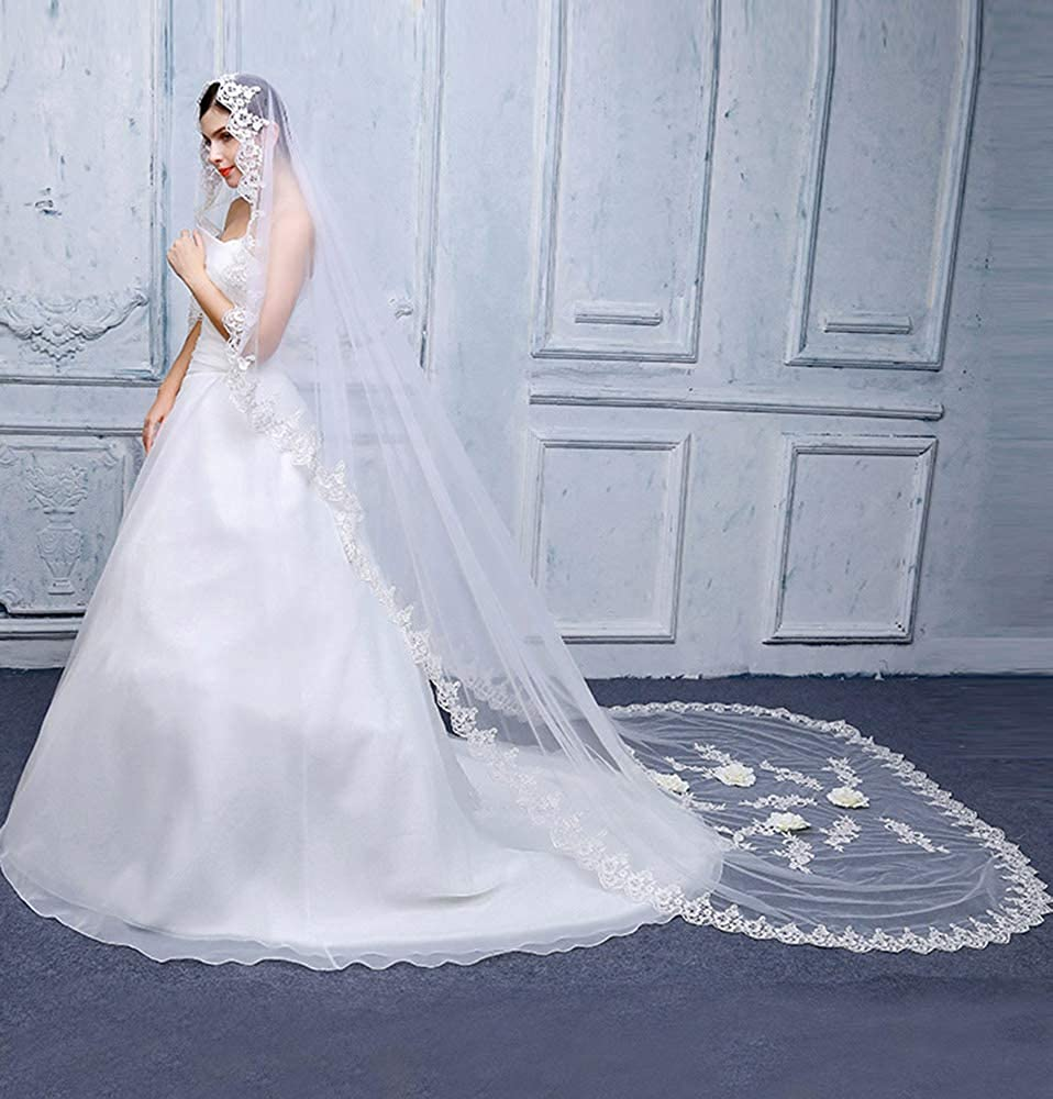 Faiokaver Wedding Veils 1 Tier for Bride Full Lace Edge with Flowers with Comb