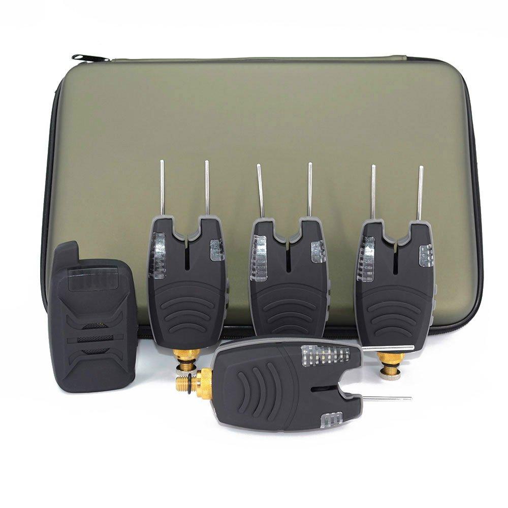 Hirisi Tackle - Coffret de 4 + 1 détecteurs de touche étanches pour pêche à la carpe avec barres oreilles