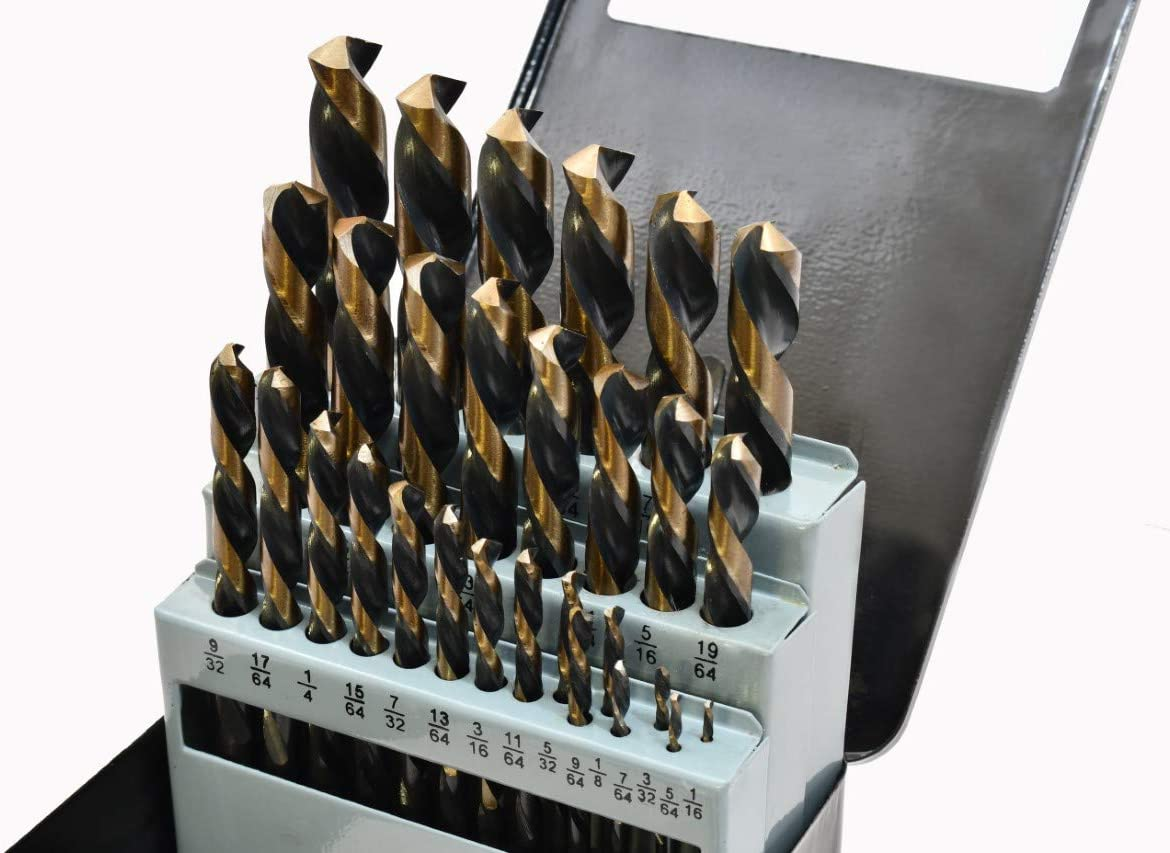 29PC Left Hand Industrial Black /& Gold Drill Bit Set 135 degree split Point