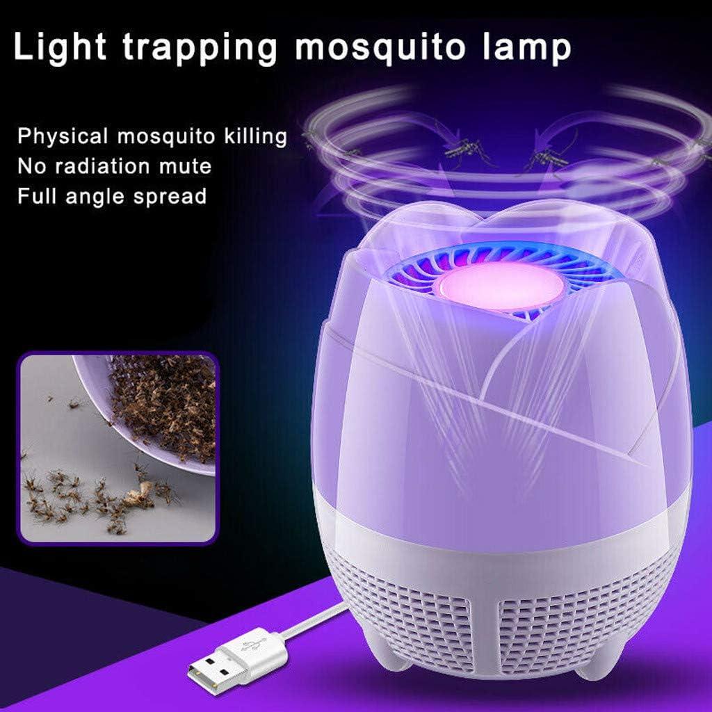 Harpily Repelente Mosquitos, LED Lámpara para Matar Mosquitos Sin Radiación Antimosquitos Cargador Silencioso USB Lámpara Antimosquitos para en Interiores y Exteriores Morado